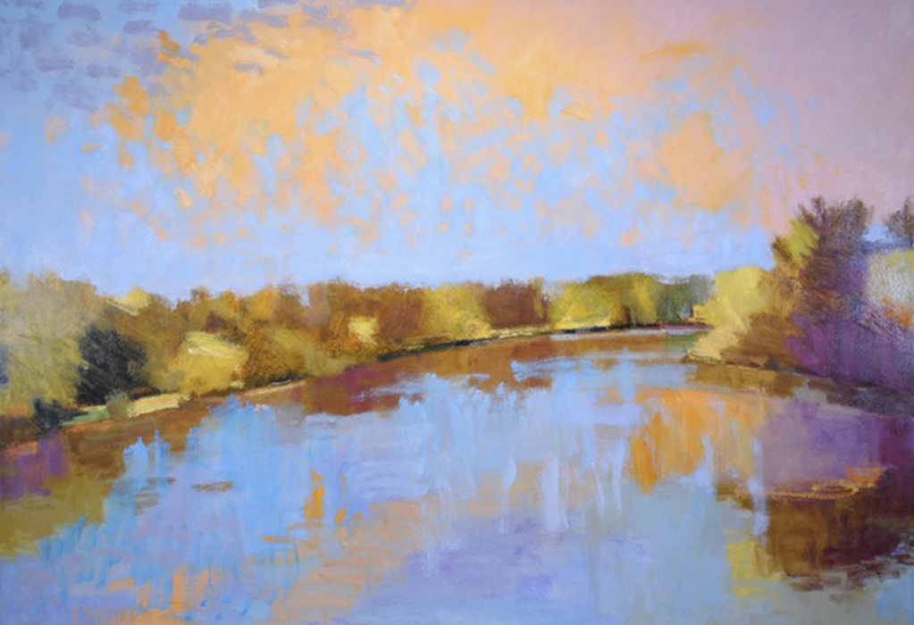 River Under An Orange Sky  36″ X 52″